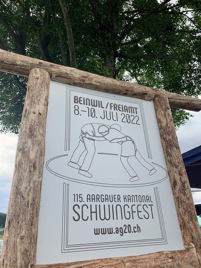 Aargauer Kantonalschwingfest 2022 Beinwil Freiamt neue Logotafel
